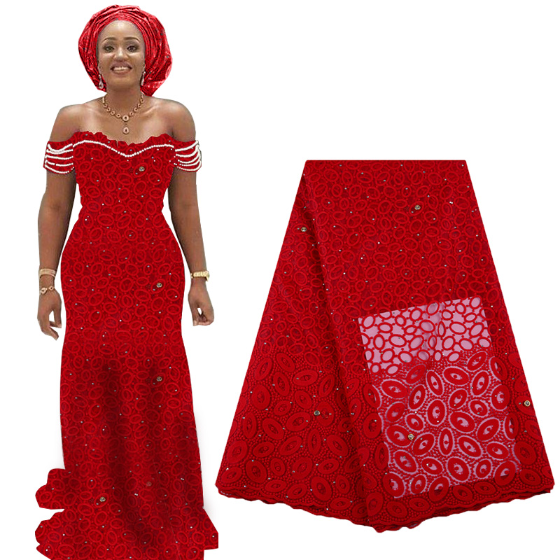 2019 Best Selling African Lace Fabric Embroidery Nigerian Net Lace French Tulle Lace High Quality With Beads For Woman Dress