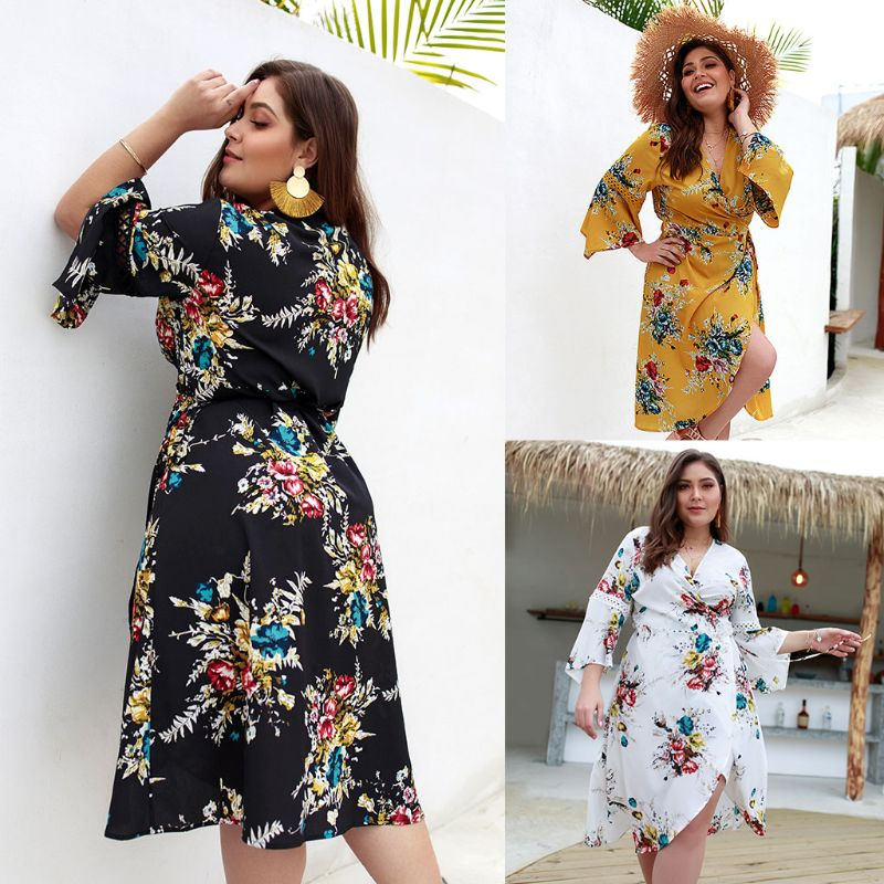 Women Ladies Plus Size Holiday Summer Beach V Neck Floral Print 3 4 Flared Sleeve Mini Short Dress Swing Sundress in Dresses from Women 39 s Clothing
