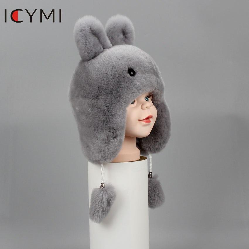 Image 5 - ICYMI New Russian Fur Hat Winter Boys Girls Real Rabbit Hat  Children Earmuffs Warm Fur Bomber Hats With Big Ear Rabbit Fur CapsHats