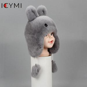 Image 5 - ICYMI Nieuwe Russische Bontmuts Winter Jongens Meisjes Real Konijn Hoed Kinderen Oorbeschermers Warm Fur Bomber Hoeden Met Grote Oor konijnenbont Caps