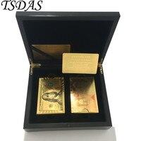 2pcs Lot Gold Foil Poker Cards 24K Gold Foil Plated USD 100 Dollar UK 50 Pounds