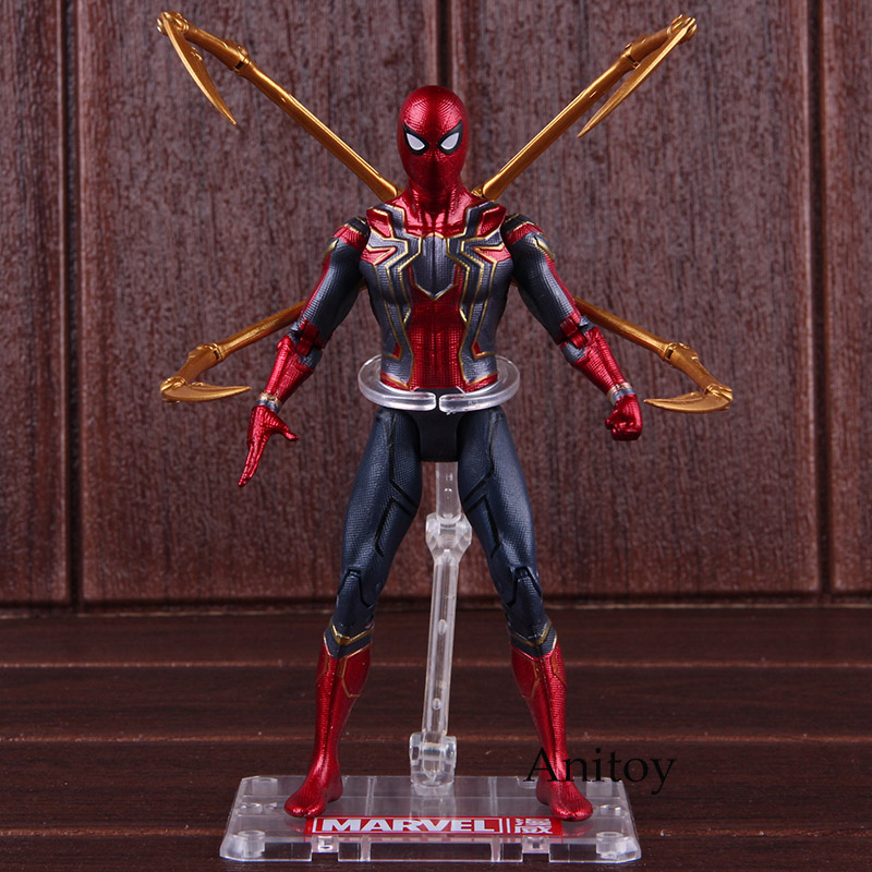 купить Hot Toys Marvel Avengers Infinity War Iron Spider Spiderman Action Figure PVC Spider Man Figure Collectible Model Toy 17cm недорого