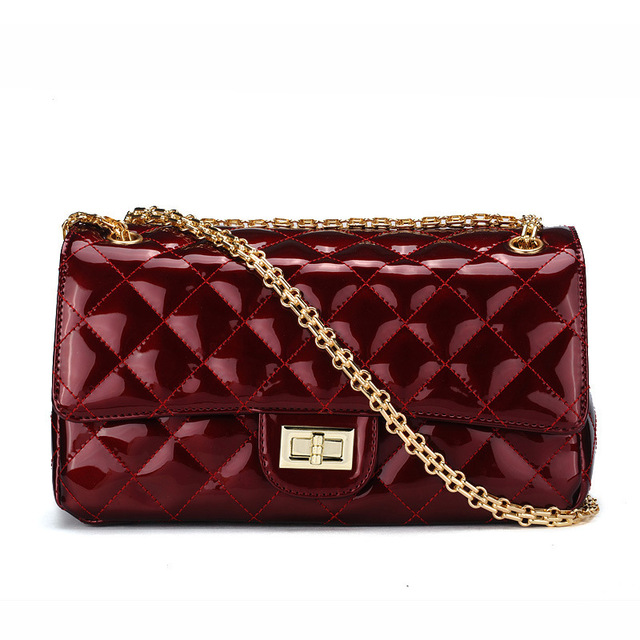 Solid Female Bag Pu Patent Leather Women Shoulder Handbags New Diamond Thread Woman Handbag Fashion Burgundy