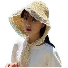 Women Summer Beach Raffia  Beige pink khaki Panama Hat Bow Temperament Sun Cap Straw Hats Womens Seaside