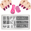 2017 Hot 6X12cm XY-J32 Styles Nail Art Stamping Template Pink Stamp Scraper Plates Image Transfer Egypt Eye Pharaoh Pyramid
