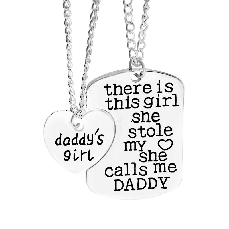 Trendy there is this girl she stole my heart she calls me mommy daddy grandma grandpa Love Heart Letter Pendant Necklace jewelry