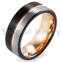 SHARDON Top Quality 8MM Matte Black Silver With Rose Goden Groove Tungsten Ring Comfort Fit Design