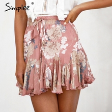 6c80b5e90 Simplee Bohemian floral print women skirt Elastic high waist ruffled mini  skirt female Casual summer beach