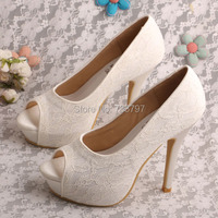 Small Size Womens Peep Toe Platforms Lace Bridal Party High Heels Shoes Wedding Ivory White