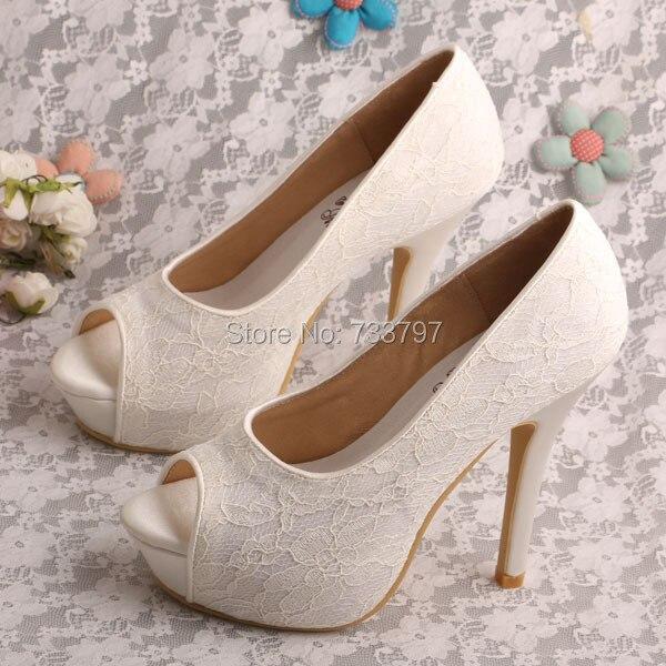 petite taille femmes peep toe plates formes dentelle de marie partie haute talons chaussures de mariage ivoire blanc - Aliexpress Mariage