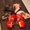 Meninas de couro candy-colored shoes, borboleta nó de casamento da princesa shoes meninas rosa de couro preto salto alto dance shoes