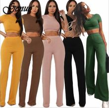 2 Two Piece Set Women Ribbed O Neck Crop Top and Long Pants Set Sexy Autumn Short Sleeve Tracksuit Women Conjunto Feminino 2019 o ring zipper ribbed crop top