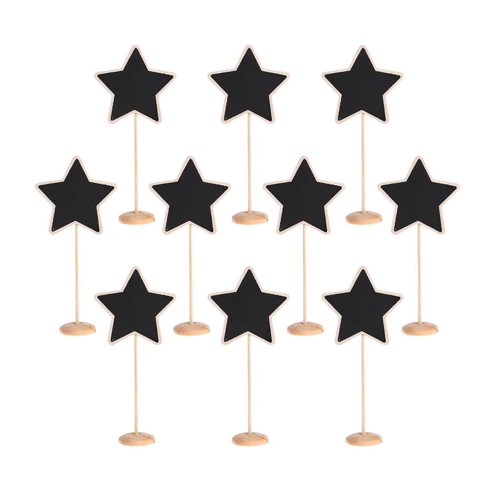 10pcs Mini Chalkboards Star Shape Blackboard with Stand Wooden Message Board for Wedding ...