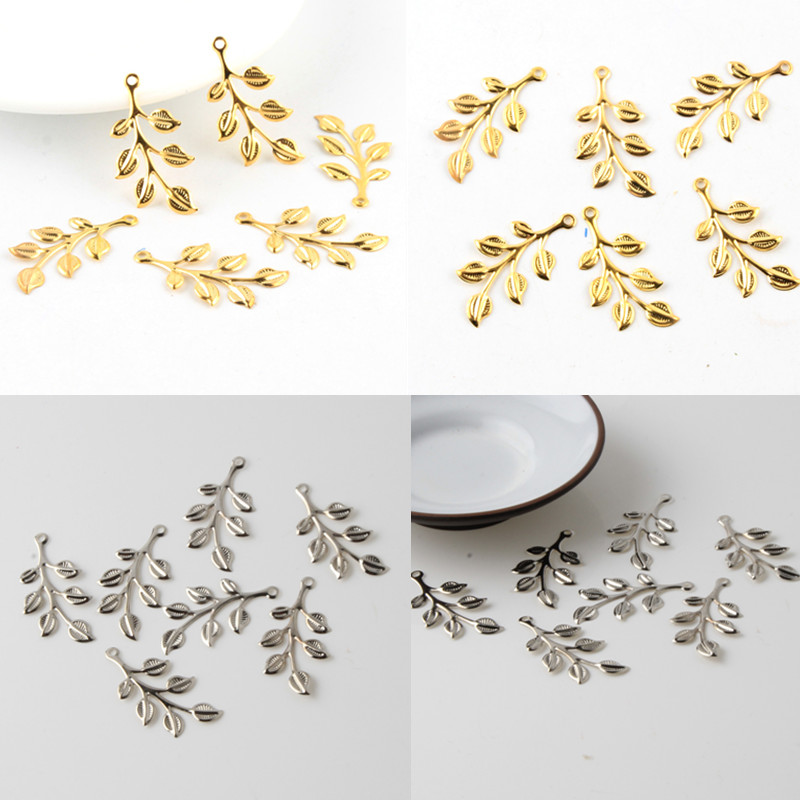 40Pcs Leaves Filigree Wraps Connectors Charm Pendant Metal Crafts Connector For Jewelry Making DIY Accessories