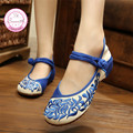 China Old Peking Embroidery Women Casual Shoes Mary Janes Flats Size 34-41 Red+Blue Chinese Style Woman Dance