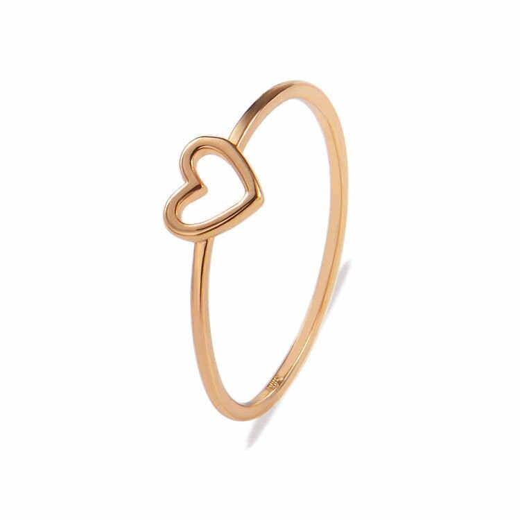 Baru Sliver Warna Emas Hollow Jantung Cincin untuk Wanita Pria Teman Pecinta Jantung Sederhana Knuckle Jari Midi Cincin Perhiasan