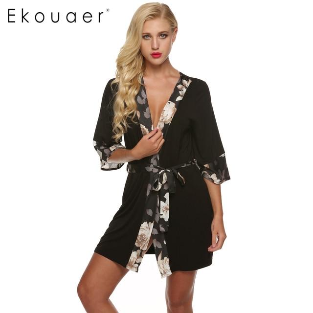 Ekouaer Women Bathrobe Sexy Kimono Robe flower Short Lingerie Babydoll  Nightdress Rayon Silk Sleepwear Dress V-Neck Bath Robe a7952cd57