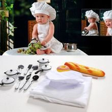 Baby Photography Props Little Chef Hat White Stretch Wrap Cook Creative Newborn Accessories