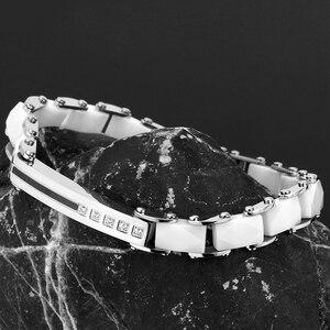 Image 2 - Браслет женский керамический из нержавеющей стали шириной 8 мм с кристаллами