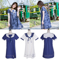 Fashion Cute Sweet Girl Women Summer Dress Lolita Preppy Style Sailor Collar Kawaii Kuma Dress Vestidos Dress