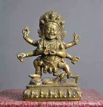 wedding decoration Old Tibetan temple Buddhism brass 6 Arms Mahakala Wrathful Deity buddha Statue