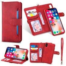 Flip Folio Fall für iPhone 12 XR XS Luxus Abnehmbare Leder Brieftasche Telefon Fall Magnet Abdeckung für iPhone 11 SE 2020 XS Max 7 8