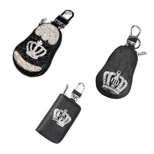 Diamond Crown Car Key Bag Set Unisex Universal Crocodile Pattern Zipper Keychain Organizer Interior Supplies