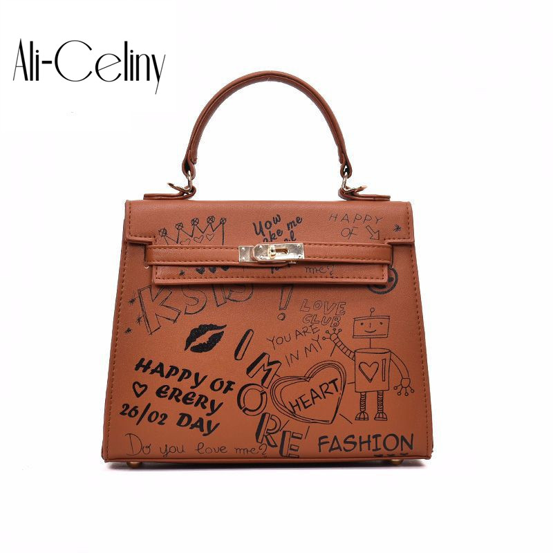 2017 Brand original design bag for women female letter printed handbag commuter bag shoulder bag Messenger bag trend bolsas