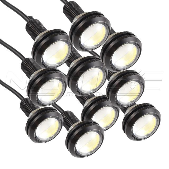 10 pçs/set 9 W CONDUZIU a Luz Do Carro Eagle Eye Luz DRL Nevoeiro 23mm luzes de Circulação Diurna Reversa Backup Estacionamento Sinal de Luz Livre grátis