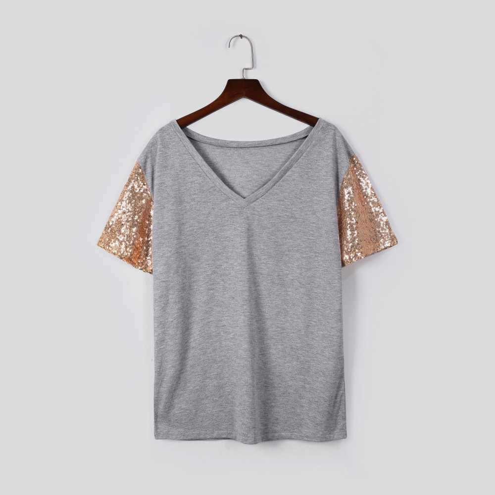 Fashion T Shirt Vrouwen Korte Mouw Stand Out Sequin Mouwen Tee Shirt Femme Casual Camisas Mujer Top Tshirt Vrouwen Dropshipping