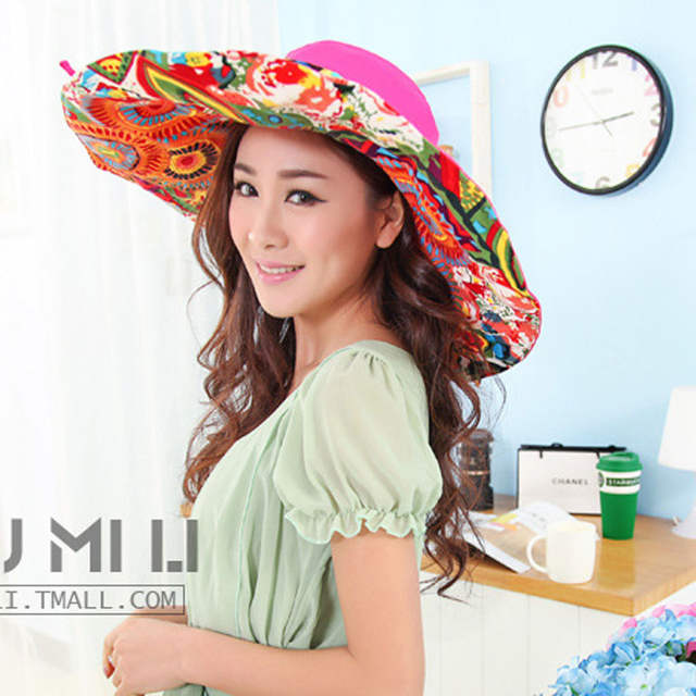 a7fed3da8f4 placeholder Women s holiday beach sun hats Caps 2018 Summer Fashion Prints  Foldable Floppy Sun Hats Ladies cute