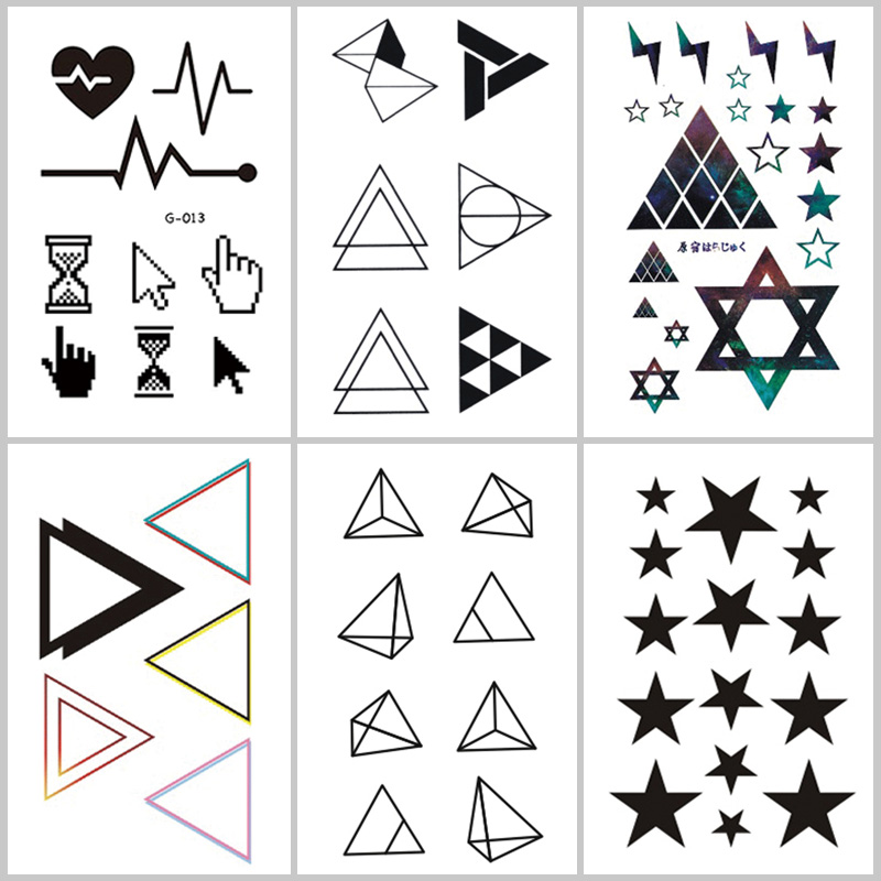 Wyuen Geometric Shapes Fake Tattoo Line Temporary Tattoo Stickers for Adults Kids Body Art G-015 Waterproof Tatoo for Man Woman line art