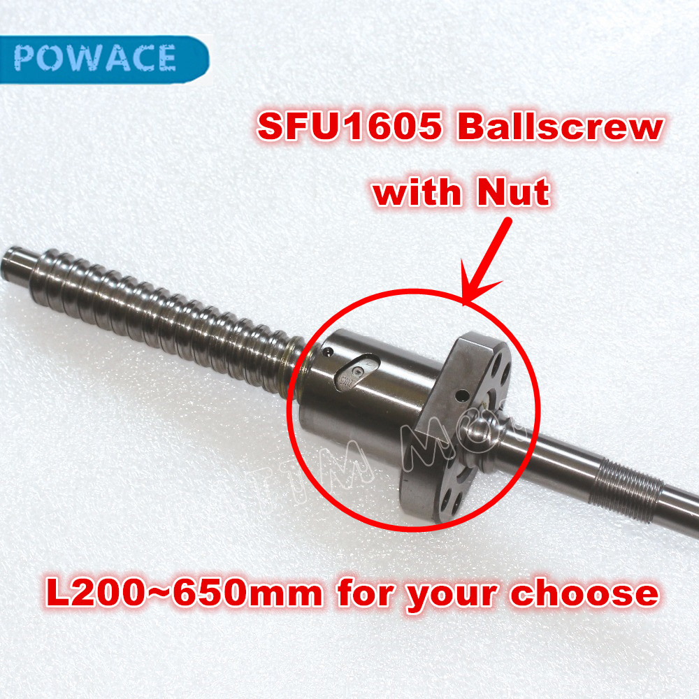 SFU1605 <font><b>Ballscrew</b></font> -L200/300/350/400/500/600/650mm end for BK/BF12 Machined with <font><b>1605</b></font> <font><b>ballscrew</b></font> <font><b>nut</b></font> for CNC Router Machine image