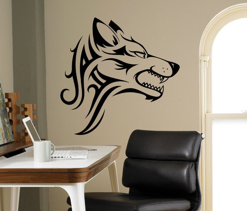 online buy wholesale creative imaginations stickers from china super cool angry wolf wall sticker art decal imaginative vinyl decal eye catching home decorations