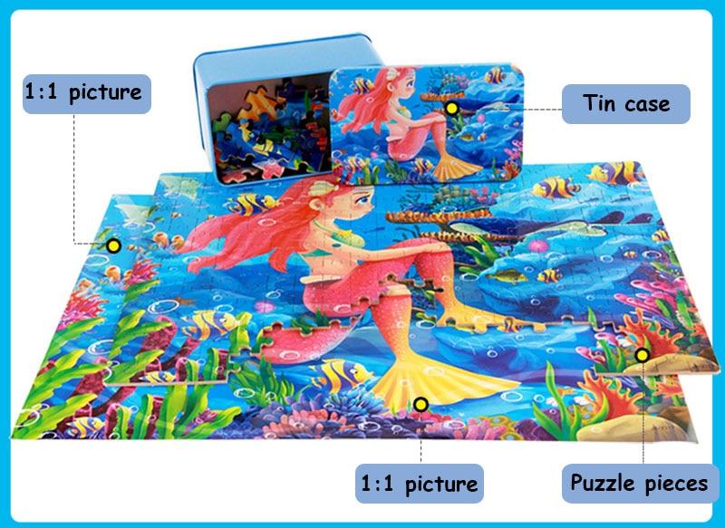 200pcs / box Cartoon 3D Puzzle avec Iron Box pour enfants Jigsaw - Jeux et casse-tête - Photo 6