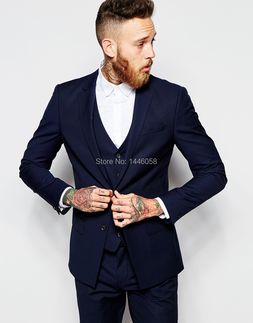 2017 Men Formal Suits Groom Wear Navy Blue Business Suit Men Wedding