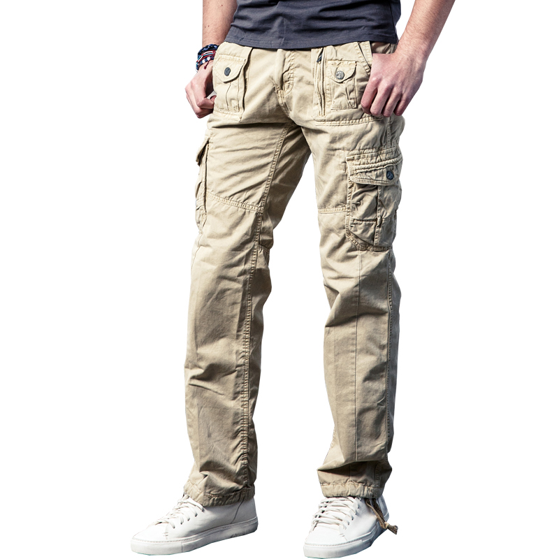 Drop Shipping New Arivals Multi-Pockets Solid Mens Cargo Pants Military Loose Long Trousers 29-40 JPCK11