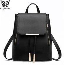 BAIJIAWEI Women Backpack High Quality PU Leather Mochila Escolar School Bags For Teenagers Girls Top-handle Backpacks Herald