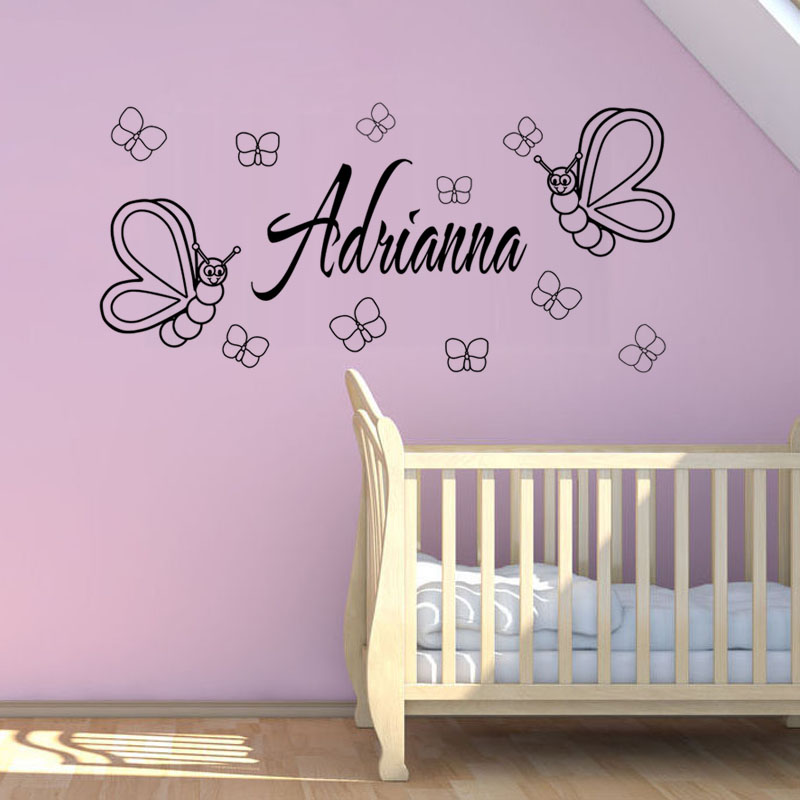 Personalized Name Baby Butterflies Vinyl Wall Sticker Home Decor Living Room Bedroom Decoration Accessories