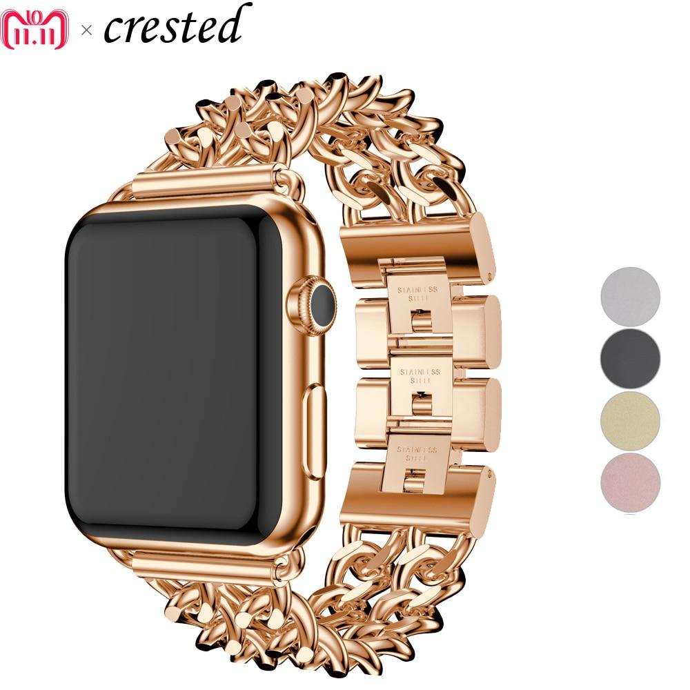 Correa de pulsera de enlace CRESTED para Apple Watch band 42mm 38mm correa de acero inoxidable para iWatch 3/2/1 Correa reloj Accesorios