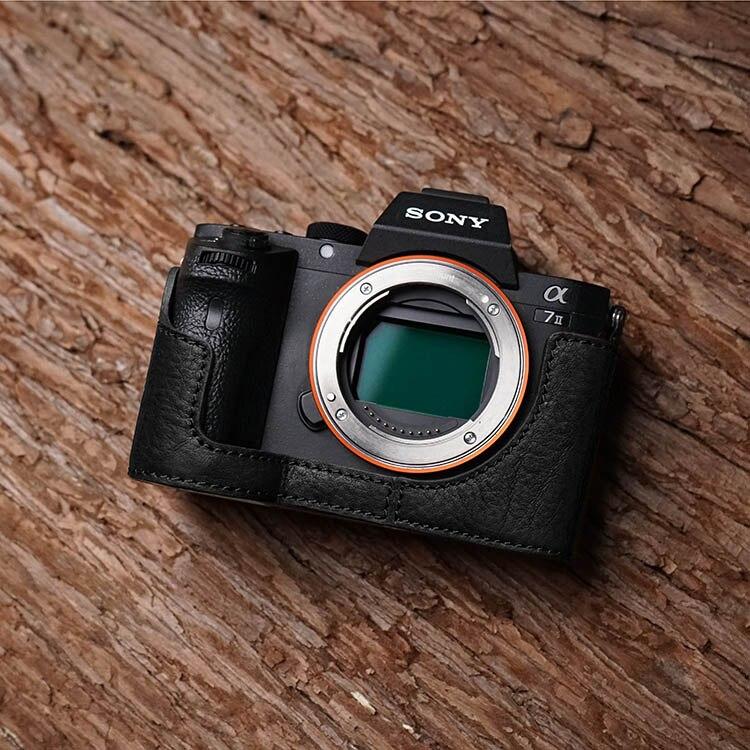 Sr. pedra artesanal caso câmera de couro