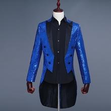 Kostium Homme Tuxedo moda męska garnitury ślubne Royal Blue cekiny mężczyźni frak marynarka Homme cekiny Blazer mężczyźni jednolite męskie Blazer tanie tanio Blazers icachin Pełna Poliester IC1021 W stylu Punk zipper long Men Prom Suits Sequin Tuxedo picture color DHL Fedex EMS UPS etc