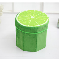 031453 Cartoon Inflatable Animal Stool Fruit Style Watermelon Shaped Storage Stool With Washable Thick Flannel Fabric