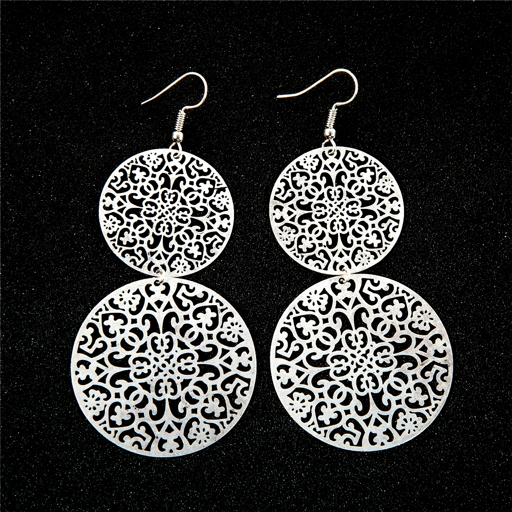 Silver Earrings Copper Filigree Erfly Vintage Ancient China Pattern Brincos Ethnic Style Ear Jewelry