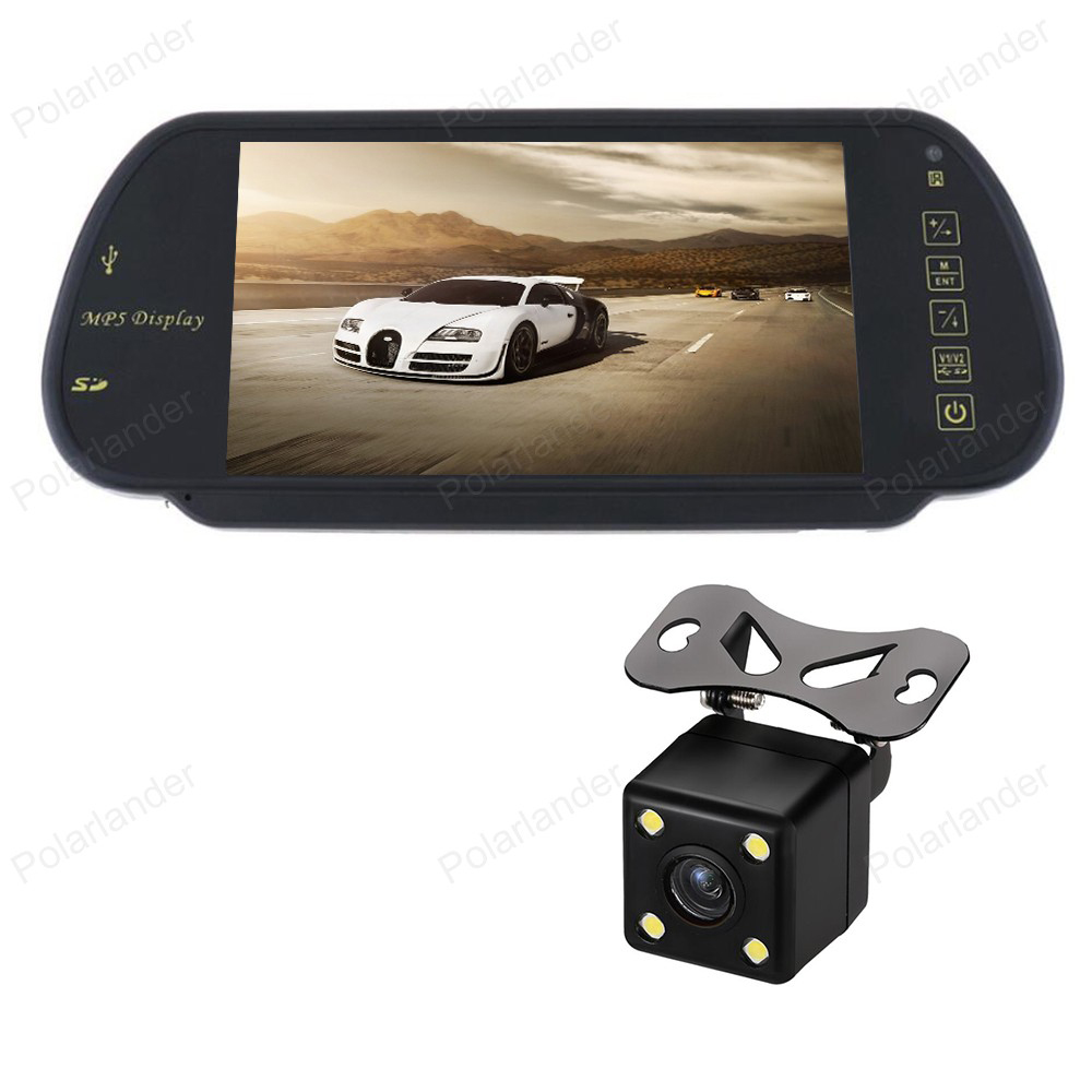 LCD Screen Car Video Parking Monitor Support SD/USB FM Radio With Reverse CCD Camera MP5 Auto Rear View Mirror Monitor 7 Inch