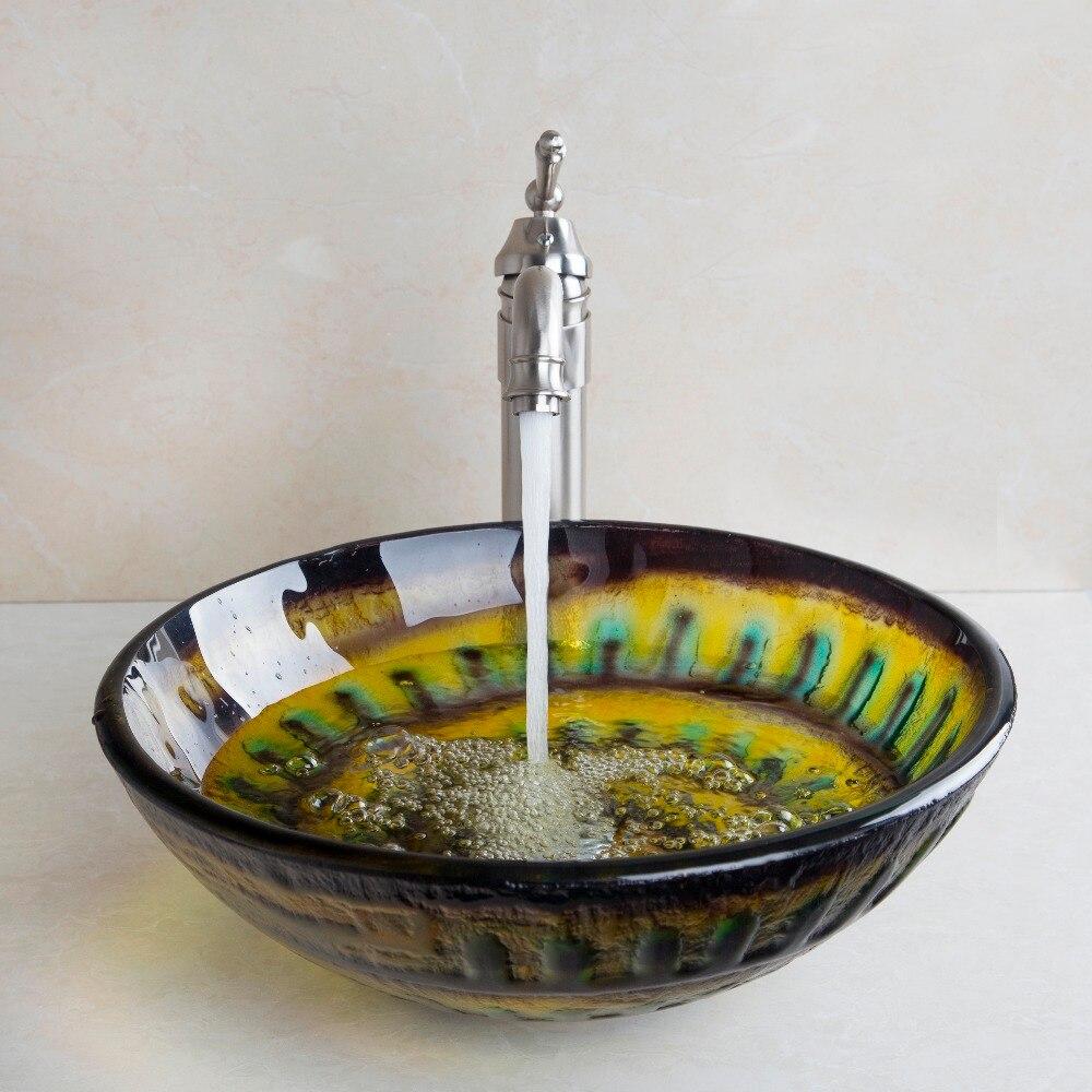 ronda lavabo buque lavabo de cristal templado lavabo del bao nquel cepillado latn grifo grifos de combinar mezc