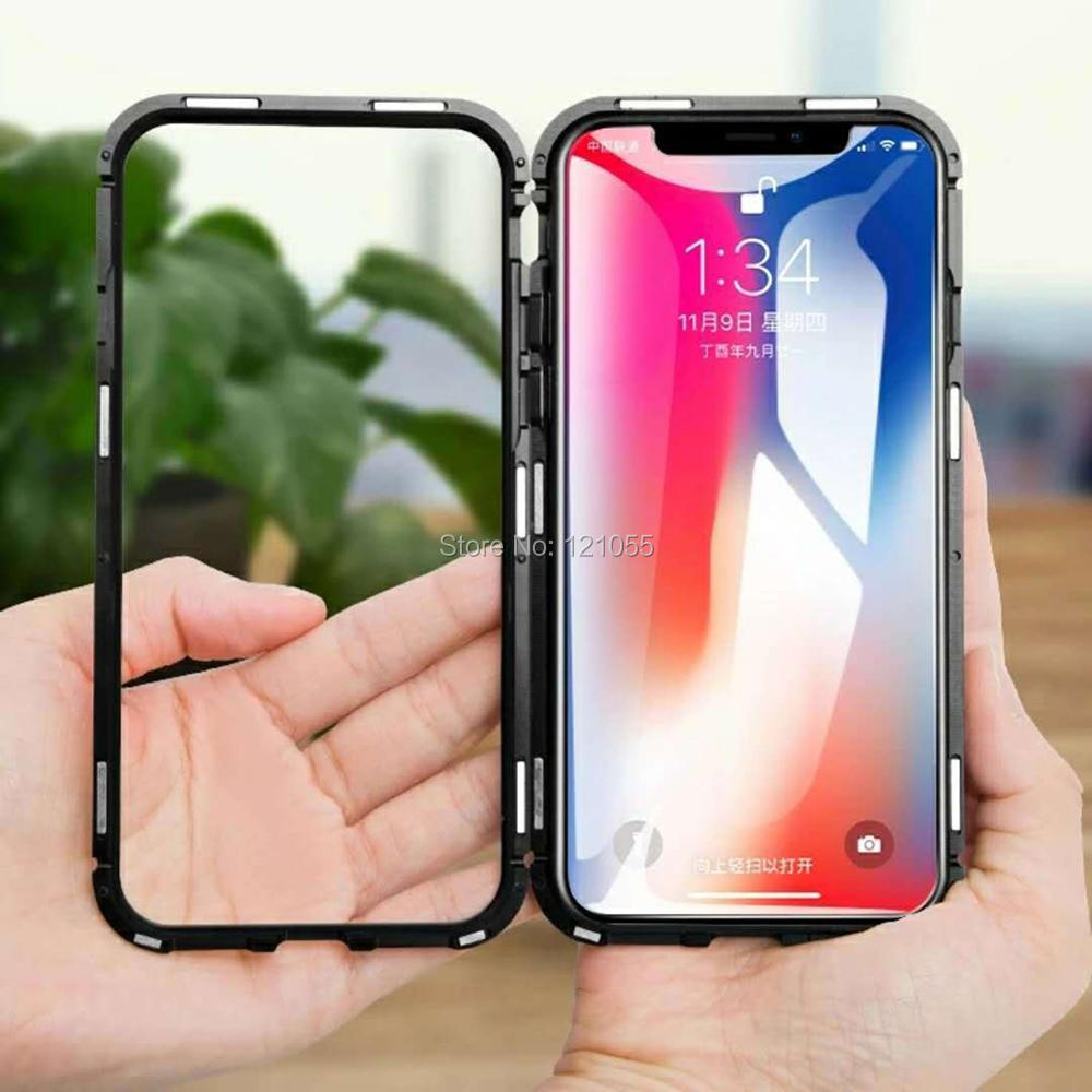 2018 New magnet cover for iphone case magnetic metal bumper ultra thin shell tempered glass full body adsorbtion wholesale lot-in Fitted Cases from Cellphones & Telecommunications