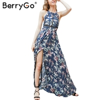 BerryGo Split Backless Summer Dress Women Christmas Floral Beach Dress Halter Neck Long Dress Elegant Maxi