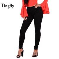 Tingfly ג 'ינס ג' ינס נשים שחורה בתוספת גודל גבוהה מותן נשים מכנסיים רגליים עיפרון ארוך צבע טהור ג 'ינס סטרץ'