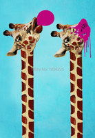 birthday party decorations kids funny animals giraffe christmas party decoration oil painting wall stickers for kids rooms